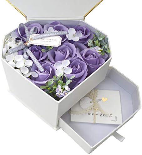 [해외]비누 꽃 향기 나는 비누 장미 크기 (21.5 × 19 × 36) 선물 어버이날 선물 기념일 생일 하트 BOX (퍼플 하트) / Soap Flower Fragrant Soap Rose Size (21.5×19×36) Gift Mother`s Day Gift Anniversary Birthday Heart BOX (Purple Heart)