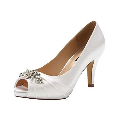 Image of ERIJUNOR E0055Peep Toe Mid Heels for Woman Rhinestones Satin Evening Prom Wedding Shoes Ivory Size 11