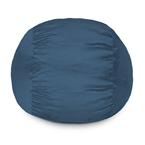 Lumaland Luxury 3-Foot Bean Bag Chair with Microsuede Cover Navy Blue, Machine Washable Big Size Sofa and Giant Lounger Furniture for Kids, Teens and Adults