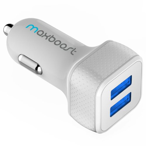Maxboost Car Charger with SmartUSB Port 4.8A/24W [White/Grey] Portable Charger for iPhone 11 Pro Max XS X 8 7 6s 6 Plus 5S SE, Galaxy S10 S9 S8 Edge, Note 10 9 8, LG G7 G8, HTC, Nexus,Pixel, iPad Pro