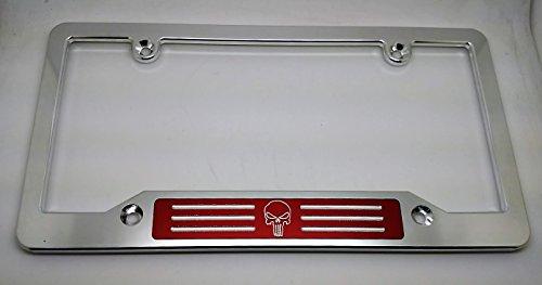 Badge Billet (PUNISHER BILLET ALUMINUM LICENSE PLATE FRAME, CLEAR, RED BADGE)