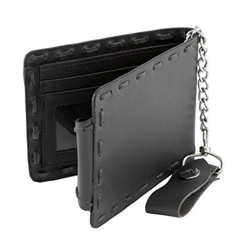 Milwaukee Leather MLW7810-PCS Black PCS Biker Wallet with Steel - Wallet Milwaukee Leather