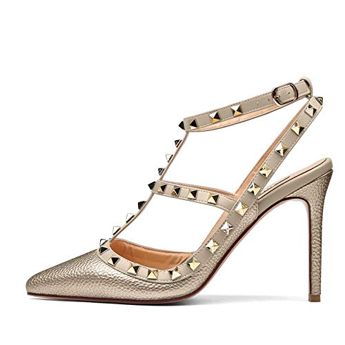 CAITLIN-PAN Women Pointed Toe Studded Strappy Slingback High Heel 4 Inches Leather Pumps Stilettos Sandals Gold Pattern Size 7 US