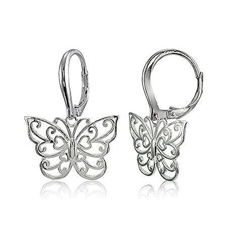 Sterling Silver High Polished Filigree Butterfly Leverback Earrings - Open Loop Earrings