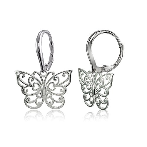 Leverback Butterfly Earrings (Sterling Silver High Polished Filigree Butterfly Leverback Earrings)