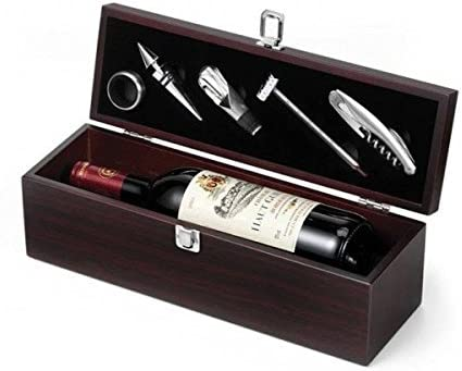 Estuche vino madera para regalo + 5 accesorios para vino: Amazon.es: Alimentación y bebidas