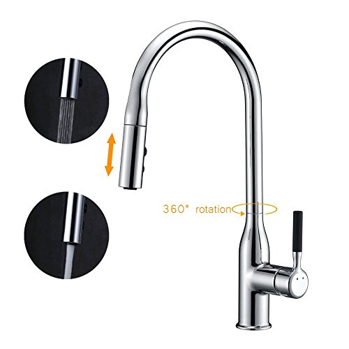 SURNORME Kitchen Faucet with Pull Down Sprayer Single Lever Pull Out Kitchen Sink Faucets Single Handle Tap (Pull Out Single Step)
