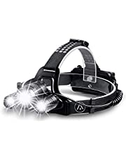 Zukvye Rechargeable Head Torch, Zoomable LED Headlight, 4 Modes with Red Warning, Waterproof Headlamp Perfect for Running, Walking, Camping, Reading, Hiking