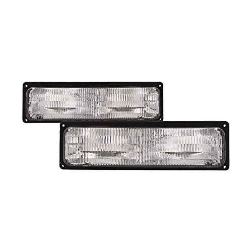 HEADLIGHTSDEPOT Chrome Housing Park Signal Lights Compatible with Chevrolet GMC Blazer Chevy Truck C/K 1500 2500 3500 Suburban Includes Left Driver and Right Passenger Side Park Signal Lights