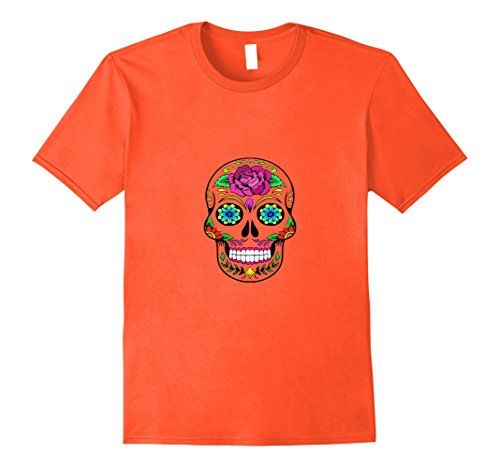 Mens Colorful Skull T Shirt - Great Simple Halloween Costume Idea Medium Orange