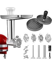 AMZCHEF Vleesmolen, opzetstuk voor KitchenAid, staande mixer, vleesmolen, accessoires met 3 worstvultrechters, 4 slijpschijven, 3 slijpmessen, burgerpers, reinigingsborstel