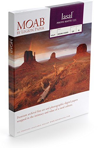 "Moab Lasal Photo Matte, Double Sided, Bright White Archival Inkjet Paper, 235gsm, 8.5"" x 11"", 50 Sheets"
