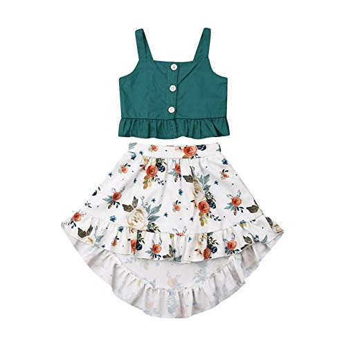 - 2PCS Toddler Baby Little Girl Floral Boho Skirt Set Baby Summer Strap Top Maxi Dress Outfit Beach Clothes