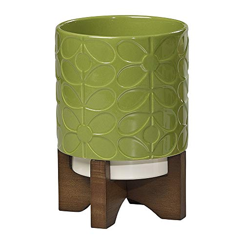 - Orla Kiely 60's Stem/Leaf Ceramic Planter with Wooden Base