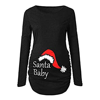 Kenebo Xmas Christmas Ladies Santa Claus Baby Hat Print Pregnancy T-Shirt Pregnant Women Mother Tops