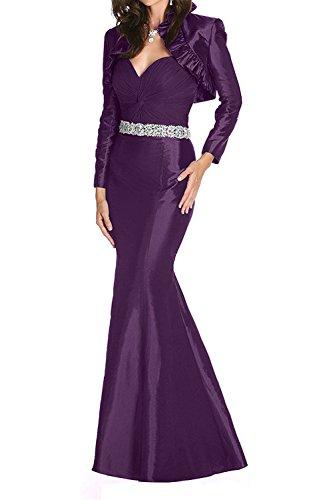 Taft Jaket Langarm mit Langes Ballkleider Abendkleider Lila Dunkel Festlichkleider Partykleider Braut La Etuikleider mia wP1vSBvpWE