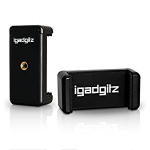 iGadgitz PT310 Mini Lightweight Table Top Stand Tripod and Grip Stabilizer + Universal Smartphone Holder Mount Bracket Adapter – Black