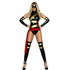 Forplay Women's  Haute Hero Bodysuit Mask Sleeves and Thigh Highs