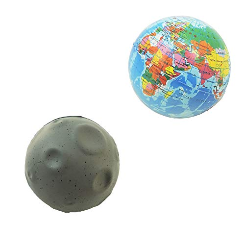 Novelty Giant Earth Globe & Moon Squeeze Toy Stress Ball Set of 2 ()