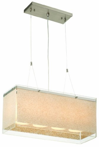 Forecast Lighting Philips Forecast F1931-36 Pacifica Four-Light Pendant with Sand on Clear Glass Side Panels, Satin Nickel