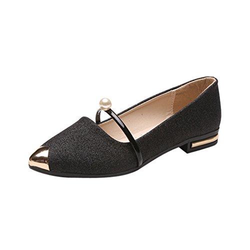 hunpta Women Pointed Toe Ladies Shoes Casual Low Heel Flat Shoes Black ZtRsc