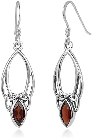 925 Sterling Silver Open Celtic Knot Symbol Red Garnet Gemstone Marquise Dangle Hook Earrings 1.5