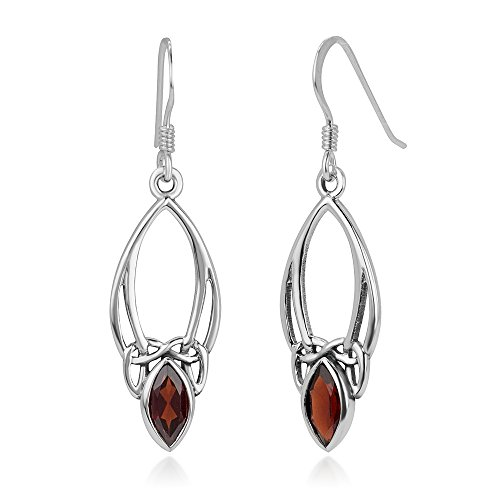 925 Sterling Silver Open Celtic Knot Symbol Red Garnet Gemstone Marquise Dangle Hook Earrings 1.5