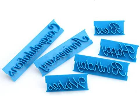 Fondant and Cake Mold, Handwriting Letter Shape, Blue, Set of 6pcs, for Birthday, Wedding, Festival, by Delight eShop