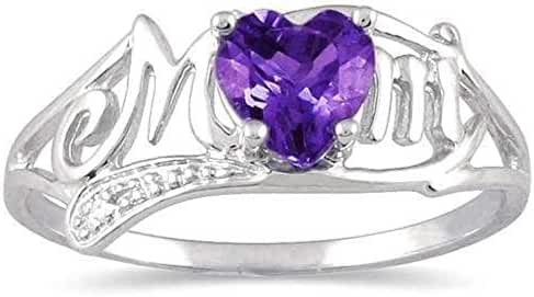 .50 Ct Created Alexandrite & Diamond Heart Mom Ring .925 Sterling Silver (Size 9)
