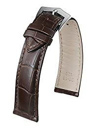 19mm High-End Dark Brown Replacement Watch Straps Leather with Classic Buckle Genuine Cowhide Medium Padding