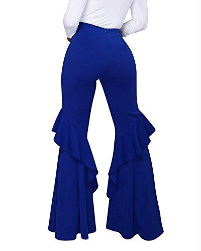 Eleganti Blu Donna Pantaloni Pantaloni Larghi Baggy Casual 5PIYqFxq