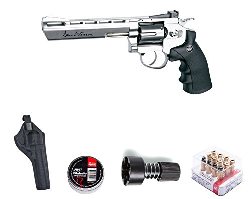 ASG ASG17611Kit-B Dan Wesson Revolver Pellet Air Gun with Holster/Cartridges/Extra BBS/& Speed Loader, Silver, 6
