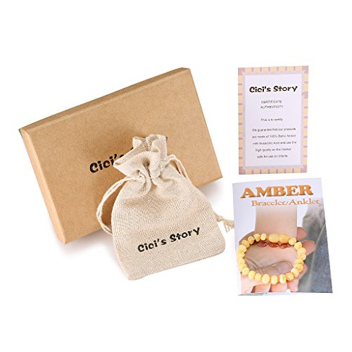 Raw Baltic Amber Teething Bracelet or Anklet for Baby (Unisex)(Butterscotch Raw)(5.5 Inches) - Baby Gift Sets - Natural Anti Inflammatory Beads.Teething Pain Reduce Properties