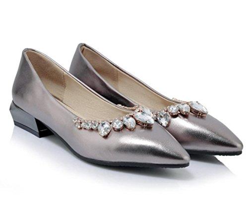 Scarpe singole poco profonde di svago del diamante di modo di estate delle donne di YCMDM di estate , silver , 37