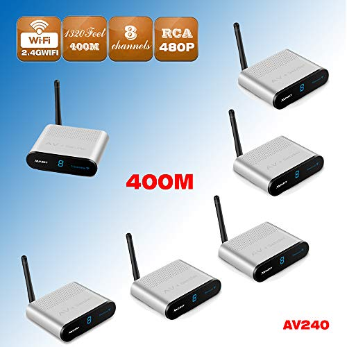 MEASY AV240-5 (1X5) 2.4GHz RF 400m Wireless AV Audio Video Sender Receptor HD TV STB Extensor a 400m/1320 pies IR Mando a...