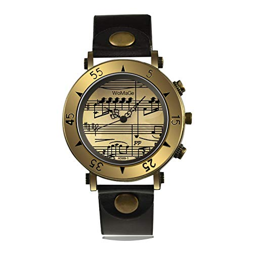 Women's Watches Womage Brand Music Leather Woman's Watch Luxury Gold Ladies Quartz Clock,Black