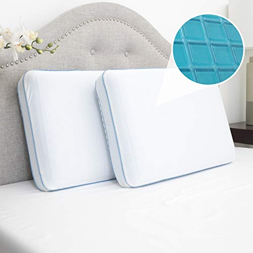 Sweet Home Collection Bed Pillows for Sleeping Cool Gel Premium Memory Foam Soft Comfortable Hypoallergenic Breathable Microfiber Cover 2 Pack 2 Pack