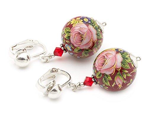 Crystal Rose Florist (Pink rose Tensha Swarovski Elements red floral silver crystal clip on earrings)