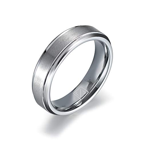 Luxffield Basic 6mm Mens Titanium Wedding Ring Matte Finished Wedding Band Comfort Fit Engagement Ring Size 10 ()