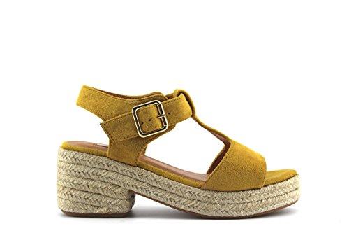 Modelisa - Sandalia Espardeña Tacon Mujer Amarillo