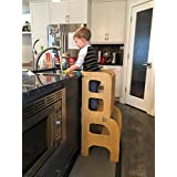 Convertible Learning Tower,Convertible Helper tower - table/chair Step'n'Sit all-in-one, Montessori learning stool, kitchen step stool