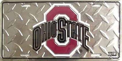 Ohio State University Buckeyes Collegiate Embossed Diamond Aluminum Automotive Novelty License Plate Tag Sign