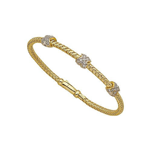 (Sterling Silver Yellow and Rhodium Plated Fancy Mesh Diamond Bangle Bracelet - 7.25 Inch)
