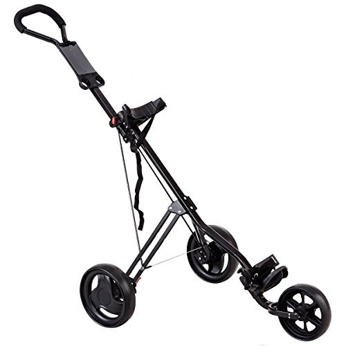 Tangkula Golf Push Cart Lightweight 3 Wheels Foldable Golf Club Push Pull Cart Trolley Golf Pull Cart