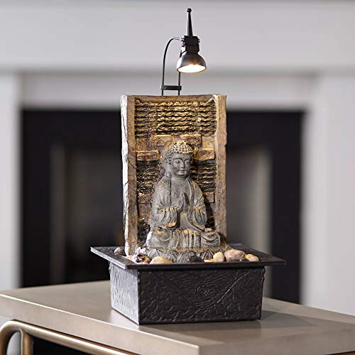 John Timberland Namaste Zen Buddha Tabletop Water Fountain 11 1/2