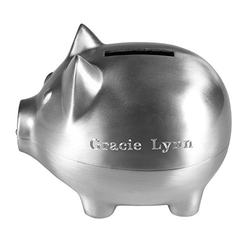 Classic Design Custom Engraved Piggy Bank - Brushed Nickel Personalized