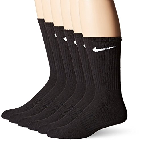 Nike Crew Socks (Performance Cotton Cushioned) 6 Pack Mens Shoe Size 8-12, Black/White, ()