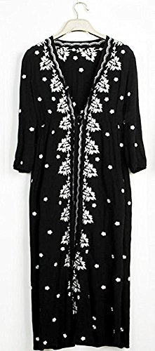 topmodelss 民族風シリーズ 和風 ボヘミアン 刺繍 花柄 五分丈袖 マキシワンピース ブラック ブルー