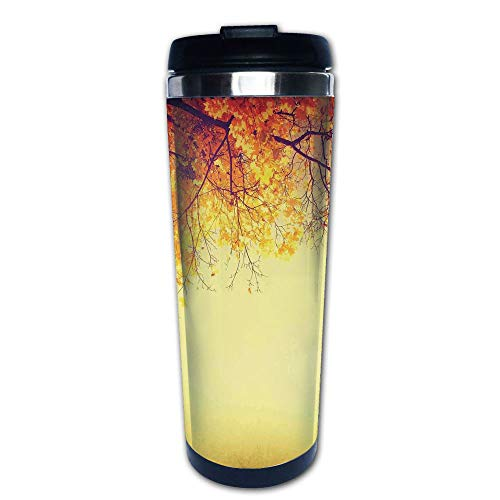 Stainless Steel Insulated Coffee Travel Mug,Inspirational Autumn Photo