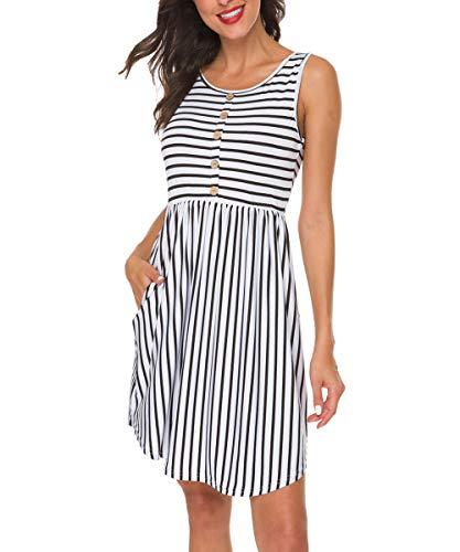(INWECH Women's Summer Sleeveless Dresses Casual Striped Swing T-Shirt Dress with Pockets (White, Small))